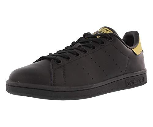 adidas Originals Boys' Stan Smith J Running Shoe, Black/Metallic/Gold, 5 M US Big Kid ()