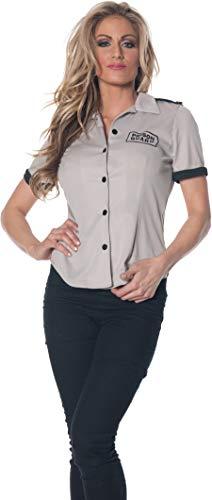 Underwraps Women's Plus-Size Prison Guard Fitted Shirt, Grey/Black, XX-Large