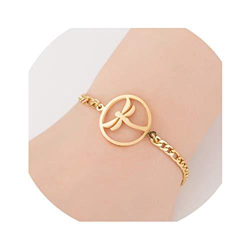 two Gold Stainless Steel Animal Bracelets for Women Everyday Jewellery Butterfly Charm Bracelet Femme Wedding Gift,Dragonfly Bracelet