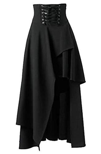 XTX Women Irregular Swing Empire Waist Witchcraft Lace Up Gothic Maxi Skirt Black -