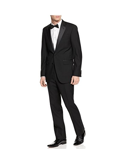 Kenneth Cole New York Men's Two Button Black Wool Tuxedo Tux Suit (42 Regular, Black)