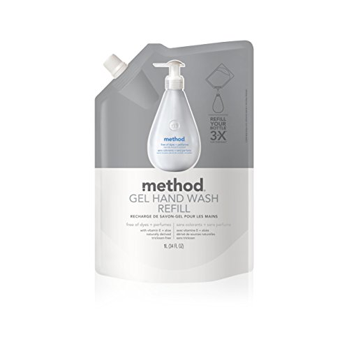 Method Gel Hand Soap Refill, Free + Clear, 34 Ounce (Pack 6) (Fragrance Free Antibacterial Soap)