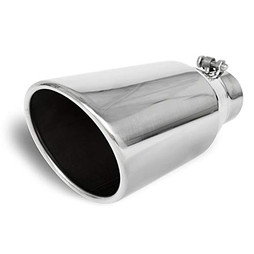 Stainless Truck Angled Polished 12 inch Bolt-On Exhaust Tip 3 In 5 Out Universal