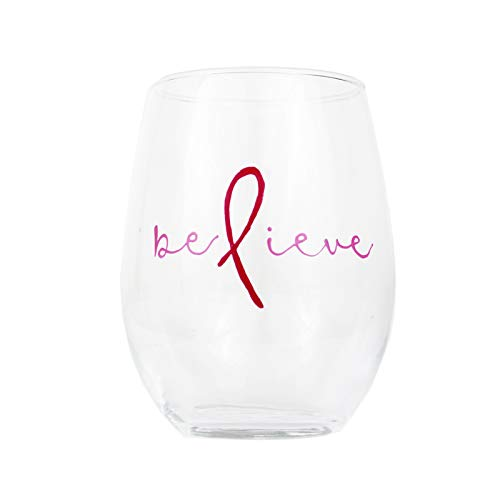 Pink Ribbon Wine Glass Painted Believe 21oz Stemless
