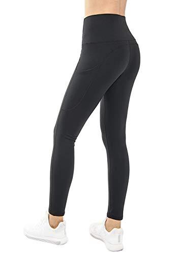 THE GYM PEOPLE High Waist Yoga Pants with Pockets,Tummy Control Running Yoga Leggings for Women Power Flex Workout Pants (Medium, Black )