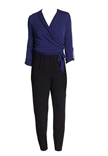 Elie Tahari Woman's Gally Blue Black Colorblock Solid Crepe Wrap Jumpsuit