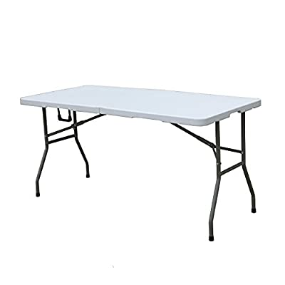 "DLAND 60"" Camping Folding Table, Portable Desk Outdoor Picnic BHS-B152 - 【High Quality Material】: High density polyethylene (HDPE) Tabletop and frame are made of powder coated steel, it is waterproof and rust-proof, You can take it for outdoor activity use, stain resistant and easy to clean. 【Dimensions】: Open size: L59.8 x W28.0 x H29.1 inch (L152 x W71 x H74 cm); Folding size: L30.7 x W28.0 x H3.5 inch (L78 x W71 x H9 cm); Package weights about 28.7 lbs (13 kg); Maximum load capacity 220 lbs (100 kg); Suitable for 4-6 people. 【Reasons to Purchase】: Using triangular pole support, more steady; 25mm Ultra-thick metal steel frame and 1.0mm inner wall to provide the ultimate stability; Aluminum slat top and strong steel frame offer ample support and surface area which is more Strong! Durable! Steady! - patio-tables, patio-furniture, patio - 31F9u4D5U4L. SS400  -"