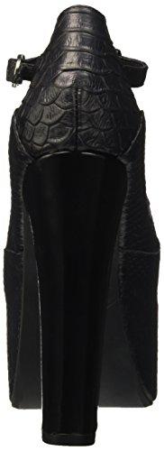 Jeffrey Campbell Foxy Snake - zapatos de tacón con punta abierta Mujer Nero (Leather Black)