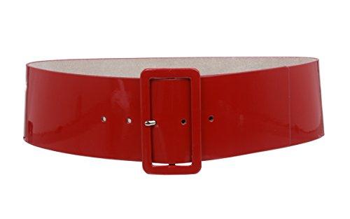 Ladies High Waist Patent Leather Wide Fashion Square Belt, Dark Red | M/L - 36 (Fashion Square)