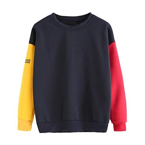 LisYOU Womens Long Sleeve Colorblock Pullover Sweatshirt Fleece Hoodie(XL,Red)