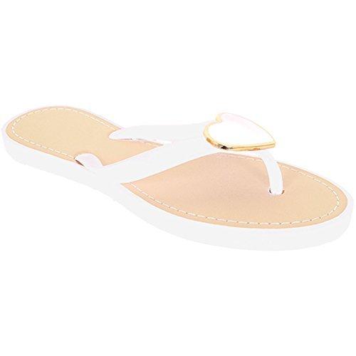 Saphir Damen-Metall Herz Accent Jelly Gurt Damen Fashion Flip Flops Sandalen Weiß