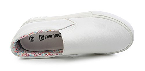 Sneaker Sfnld Increasing Heel White Leather Inside Slip On Womens xwrZFaq0w