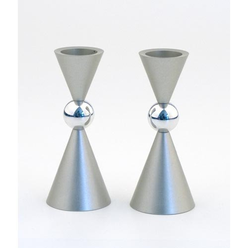 Agayof Shabbat Candlesticks Hourglass Shaped: Small 4 x 10 cm Silver)
