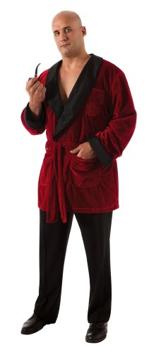 Playboy Costumes - Secret Wishes Men's Playboy Smoking Jacket with Belt and Pipe Costume, Red, Plus Size