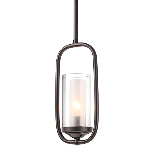 (LALUZ Pendant Lighting for Kitchen Island,Glass Shade Modern Farmhouse Hanging Ceiling Lamp,Brown Finished, A03177)