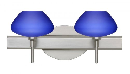 Besa Lighting 2SW-541087-SN 2X40W G9 Peri Wall Sconce with Blue Matte Glass, Satin Nickel Finish (Peri Satin Sconce)