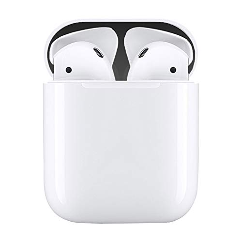 (NXDA Bluetooth Headset 4PCS Metal Dust Cover Protective Sticker Paper for Apple Airpods Headphones (Black))