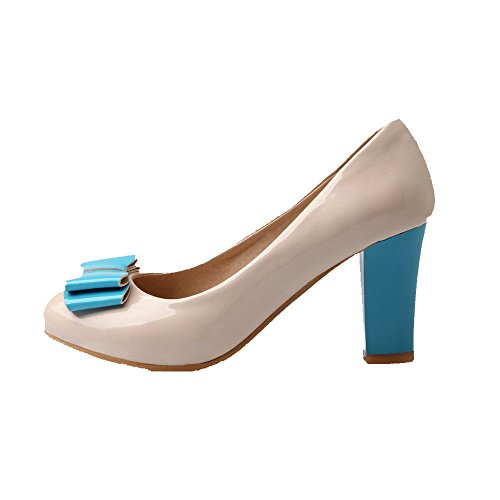 Amoonyfashion Femmes Japaned Cuir Bout Rond Fermé Talons Hauts Pull-on Pompes Solides-chaussures Abricot
