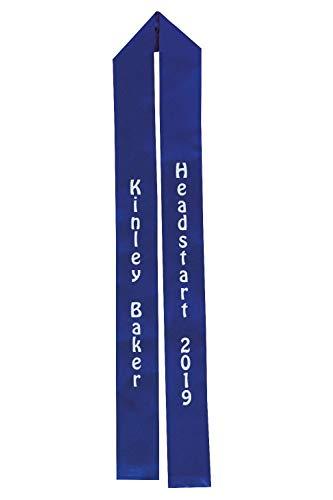 Royal Blue Satin Custom Preschool/Kindergarten Graduation Sash, 2 1/2 Inches x 52 Inches, Full-Color Dye Sublimated Sash, Personalized Sash
