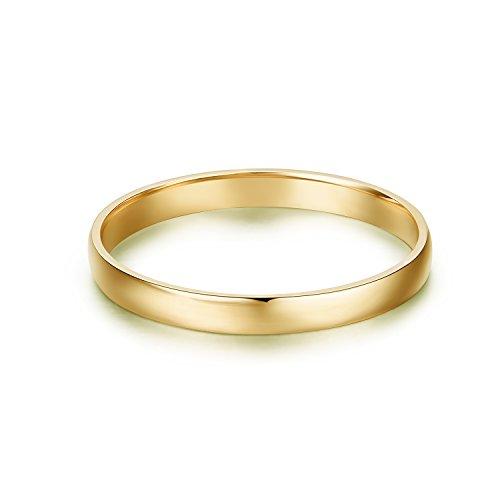 Hafeez Center 14k Gold 2mm Light Comfort Fit Classic Plain Wedding Band (Yellow-Gold, 7.5) ()