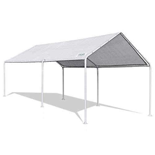 FoxHunter Heavy Duty Waterproof 3m x 6m Carport Party Tent Canopy White 180g Polyester Steel Frame