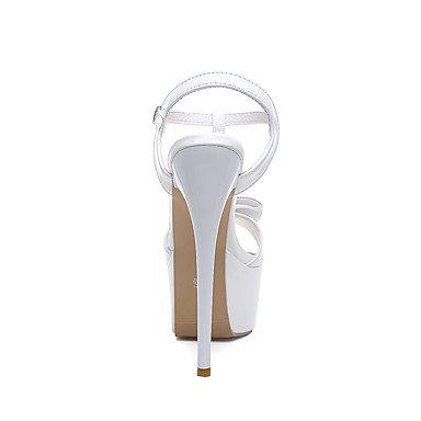 LvYuan Mujer-Tacón Stiletto-Confort Tira en el Tobillo-Sandalias-Boda Fiesta y Noche Vestido-Cuero Patentado-Negro Rojo Blanco White