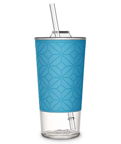 Ello Tidal Glass Tumbler with Straw, 20 oz, Blue Sky Texture ()
