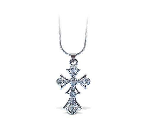 Puzzled Silver Cross Necklace, 18 Inch Fashionable & Elegant Silver Chain Jewelry with Rhinestone Studded Pendant for Casual Formal Attire Crucifix Themed Girls Teens Women Fashion Neck Accessory