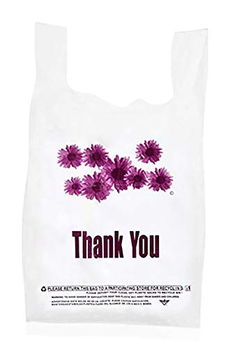Plastic Bags, Thank You Bags, Purple Flower Bulk Grocery Reusable Shopping T-Shirt Bags with handles - 305 pcs/case -