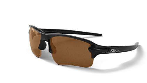 REKS Polarized Unbreakable SLING-BLADE Sunglasses, Black Frame, Brown Lens 73 Brown Frame Sunglasses