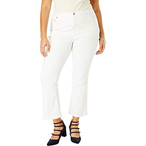 Roamans Women's Plus Size Crop Flare Jean - White Denim, 22 W ()