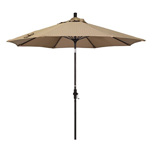 Olefin Terrace - California Umbrella 9' Round Aluminum Pole Fiberglass Rib Market Umbrella, Crank Lift, Collar Tilt, Bronze Pole, Terrace Sequoia Olefin