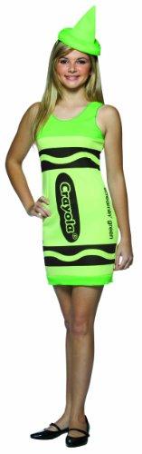 Rasta Imposta Crayola Tank Dress Teen Costume, Screamin' Green, Teen 13-16