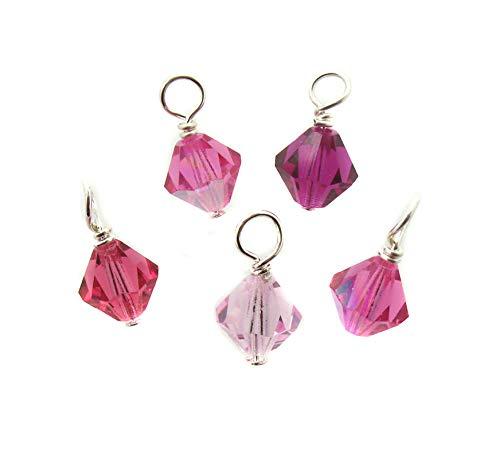 Pink Crystal Bead Charms - 6mm Preciosa glass bead dangles - Rose Fuchsia Dangle Charms for Charm Bracelets - Set of 10 Charms