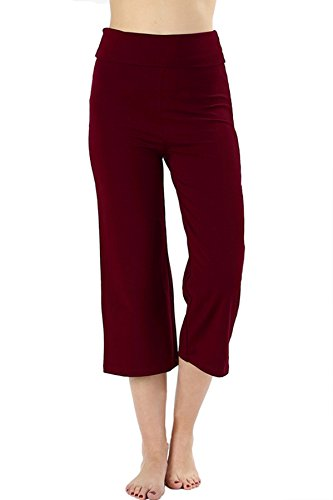 Re.Born (RBWP002 Womens Comfort Slim Flare Yoga Athletic Pants with Fold Over Waistband Burgundy 1XL