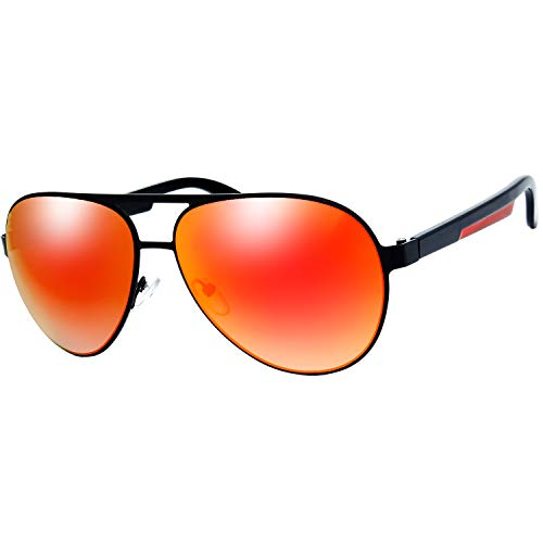 The Fresh Metal Frame Plastic Temple Mirror Lens Active Lifestyle Aviator Sunglasses with Gift Box (10-Black-Red, Red Gradient Mirror) -