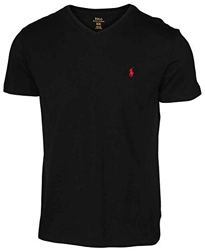 Polo Ralph Lauren Mens Classic Fit V-Neck T-Shirt (X-Large, Black (Red Pony))