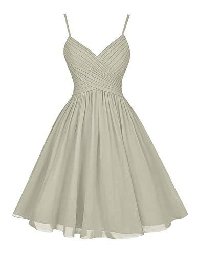 H.S.D Chiffon Bridesmaid Dresses Short Evening Party Dress Spaghetti Strap Silver 20W]()