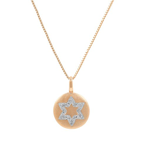 David Diamond Disc Pendant (10kt Pink Gold Sandblast Disc 0.05ct Diamond Accent Star of David Mini Pendant Necklace, 18 Inch)