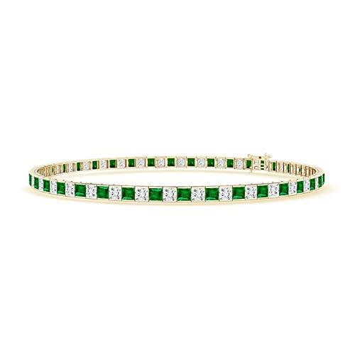 Princess-Cut Diamond and Emerald Tennis Bracelet in 14K Yellow Gold (2.2mm Emerald)