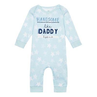 bluezoo Kids Baby Boys' Blue Slogan Print Sleepsuit Newborn