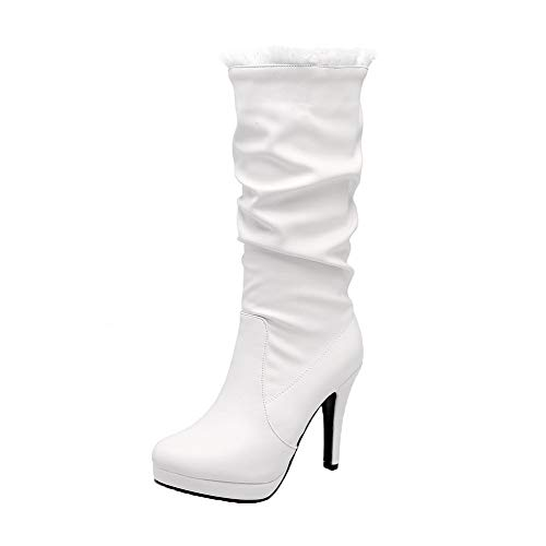 Solid White Pu Toe AalarDom Low Round Top High Heels TSDXH112849 Women's Boots ZPaFTP0