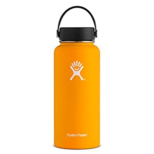 Hydro Flask 32 oz Double Wall Vacuum Insulated Stainless Steel Leak Proof Sports Water Bottle, Wide Mouth with BPA Free Flex Cap, Mango