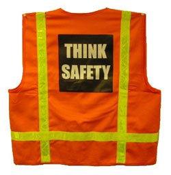 Childrens Safety Vests - Orange Cotton Safety Vests with Lime Stripes Medium