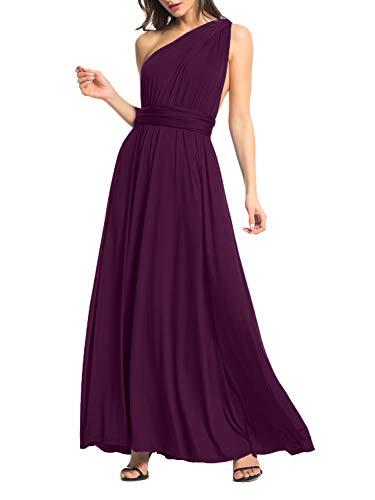 (Clothink Women Dark Purple Convertible Wrap Self-tie Waist Maxi Dress M )