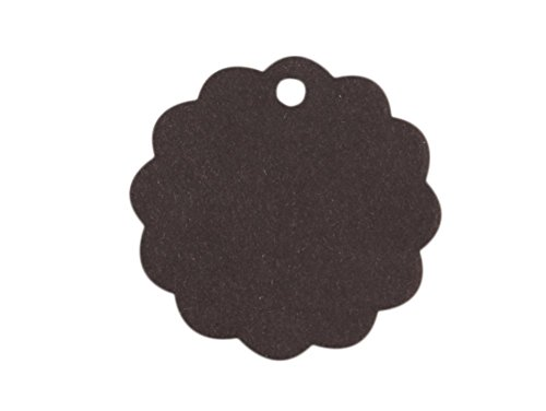 Punch Scalloped Tag (100Pcs Kraft Paper Gift Tags Wedding Party Favor Label Wine Decor Price Gift Card Price Label Round Flower Scalloped Black)