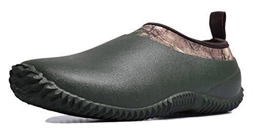 TENGTA Unisex Waterproof Rain Shoes Men Neoprene Rubber Yard Work Boots for Wet Weather Women Garden Shoes Green 9.5
