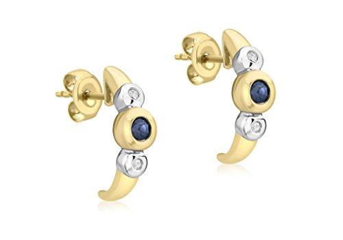 Jewellery World Bague en or jaune 9carats Diamant et Saphir Triple tore Boucles d'oreilles