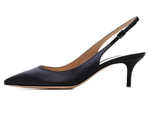 Eldof Womens Kitten Heel Pumps| Pointed Toe Slingback Sandals | 6.5CM Mid Heel Wedding Dress Shoes Satin Black US7.5