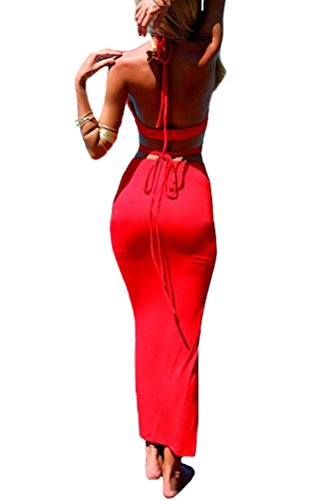 LookbookStore Women's Summer Fashion Sexy Keyhole Halter 2 Pieces Long Dress, Red US 6